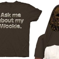 Star Wars Ask Me About My Wookie Chewbacca Adult Flip Brown T-shirt