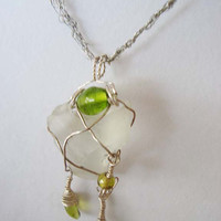 Milky Green Sea Glass Wire Wrapped Necklace