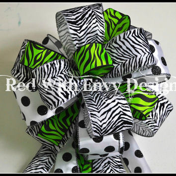 Bow Topper, Wreath Bow, Treetop Bow, Christmas Tree Topper, Animal Print, Zebra Bow, Zebra