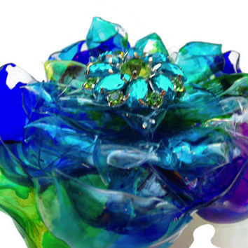 Vivid Peacock Wedding Flower, Cobalt Blue, Purple & Green Pin, Brooch or Magnet, Upcycled Plastic looks like Blown Glass, Can be customized