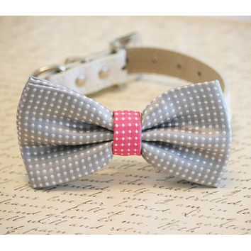 Gray and Hot pink Dog Bow Tie, Birthday Gift, Dog Lovers, Pet wedding