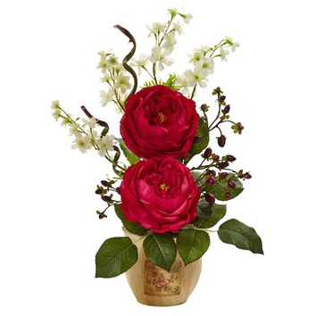 Silk Flowers -Large Red Rose And Dancing Daisy In Wooden Pot Arrangement
