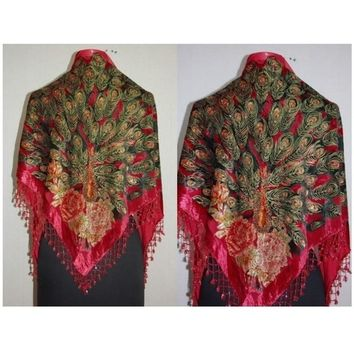 Red  Peacock Women's Silk Beaded Shawl Scarf Wrap