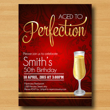 Wine birthday invitation, Aged to Perfection, Champagne birthday Invitation cheers for any age gathering Party invitation Design - card290