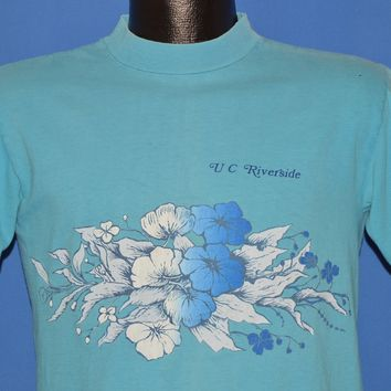 60s UC Riverside Hibiscus Flower Distressed t-shirt Medium