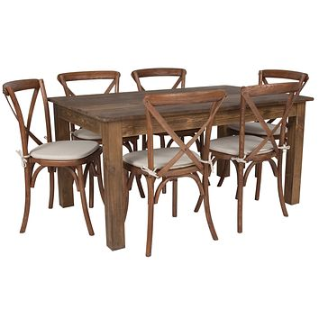 """60""""x38"""" Farm Table Set with 6 Cross Back Chairs and Cushions"""