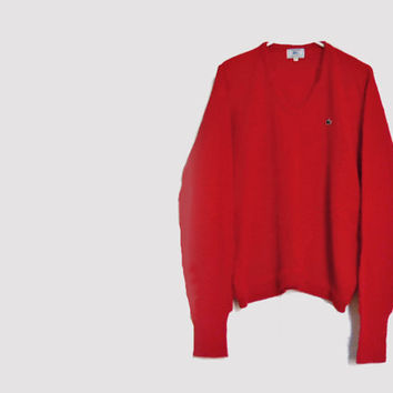 Men's Red Sweater - 1960s Vintage Izod LaCoste Alligator Pullover Sweater - Holidays - XXL