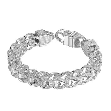 "Sterling Silver Franco Link Bracelet 11mm Chain 9"" Iced Out Hip Hop Simulated Diamonds Silver Tone"