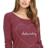Chaser Saturday Love Washed Red Backless Sweatshirt
