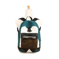 ZLYC Women's Punk Rivet Studed Colorblocked Canvas School Backpack (Green)