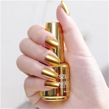 18ml Metallic Nail Polish Magic Mirror Effect Chrome Nail Art Polish Varnish Long-lasting Shell Nail Polish Shiny Glitter 2018