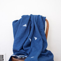 Linen Indigo Block Printed Throw
