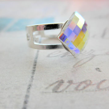 Silver Tone Swarovski Elements Adjustable Faceted Chessboard Ring