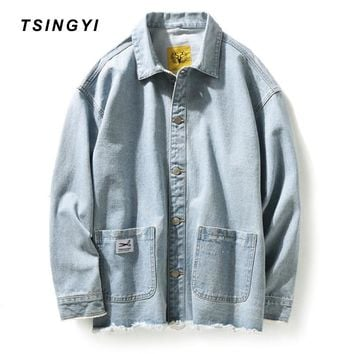 Trendy Tsingyi Vintage Distressed Hole Denim Jacket for Men Streetwear Turn-down Collar Long Sleeve Mens Bomber Jacket Chaquetas Hombre AT_94_13