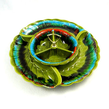 Mid Century California Pottery Chip and Dip Set