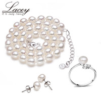 Fashion real wedding pearl jewelry set women 7-8mm natural pearl necklace sets earring bridal fine jewelry mother birthday gift