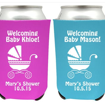 Baby Shower Koozies for Boy or Girl - Personalized Custom Baby Shower Favor Koozies