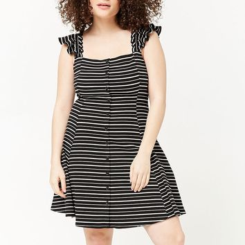 Plus Size Striped Fit & Flare Dress