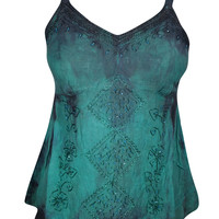 Teal Green Sequin Embroidered Beautiful Top Floral Boho Gypsy Comfy Top Blouse