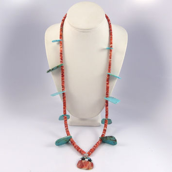 Turquoise and Spiny Oyster Necklace