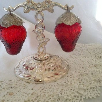 Vintage Red Glass Strawberry Salt and Pepper Shakers on Metal ElectroPlated Zinc Stand