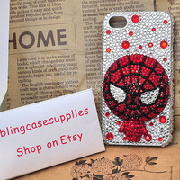 Spider-Man bling crystal rhinetones hand made cell phone case  for  iphone 4 cover / apple iphone 4s case