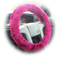 Faux fur Fuzzy Burgundy red car steering wheel cover fluffy furry car accessories