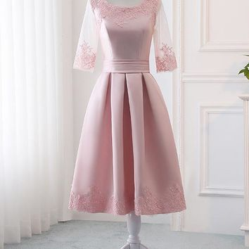 Pink Satin A Line Half Sleeves Lace Appliques Short Homecoming Dresses OKC4