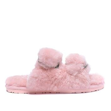 ESBON UGG 4088 Double Breasted Open Toe Slipper Women Men Fashion Casual Wool Winter Snow Boots Pink