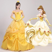 Cosplay Women's The Beauty And Beast Princess Belle Dress Party Halloween Ball Gown Female Yellow Prom Costume N342347 - Beauty Ticks