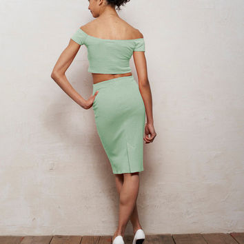 Mix n Match Coco Crop Top and Pencil Skirt Set in Pastel Mint Green