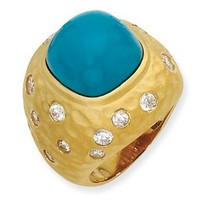 Gold-plated Sterling Silver Satin Simulated Turquoise & CZ Ring