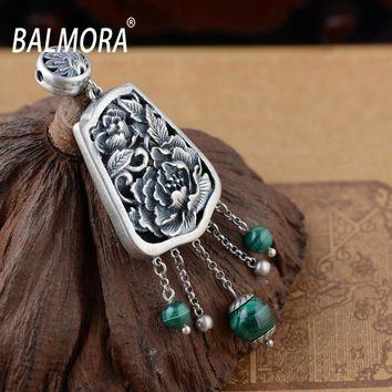 BALMORA 100% Real 925 Sterling Silver Jewelry Peony Malachite Vintage Flower Pendants for Necklaces Women Accessories SY12348