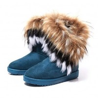 Women's Bohemian Winter Furry Boots with Long Fur - HALLOMALL