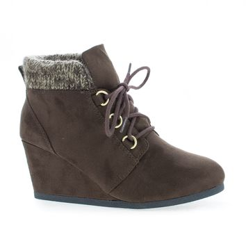 Poppet Brown Gunmetal By Soda, Round Toe Lace Up Knitted Ankle Collar Wedge Booties
