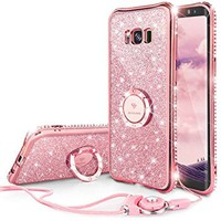 Galaxy S8 Case, Glitter Cute Phone Case Girls with Kickstand, Bling Diamond Rhinestone Bumper Ring Stand Sparkly Luxury Clear Thin Soft Protective Samsung Galaxy S8 Case for Girl Women - Rose Gold