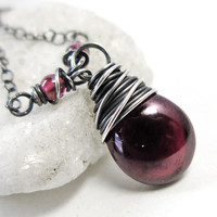 Garnet Necklace, Sterling Silver January Birthstone Pendant,  Handmade Wine Red Genuine Garnet Gemstone Jewelry