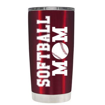 TREK Mom SoftBall on Translucent Red 20 oz Tumbler Cup