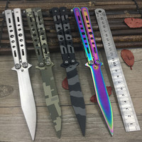 Titanium Rainbow color 5Cr13Mov Stainless Steel knife Butterfly Training Knife butterfly knife balisong knife dull tool no edge