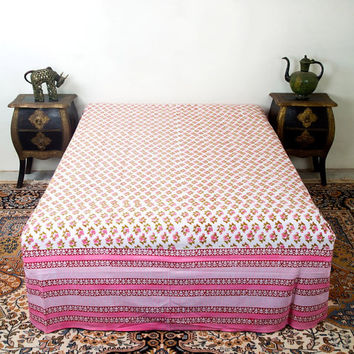 Floral Bed Sheets, Pink Bed Sheets, Cotton Bed Sheets, Bed Sheets Full, Indian Bedsheet, Rajasthani Bedsheet