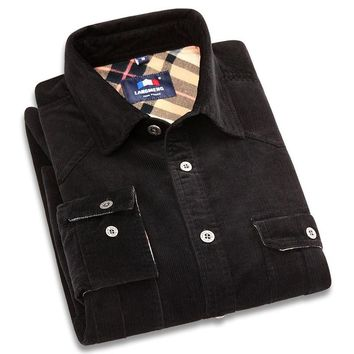 Men's Brand New Corduroy Solid Vintage Color Shirts