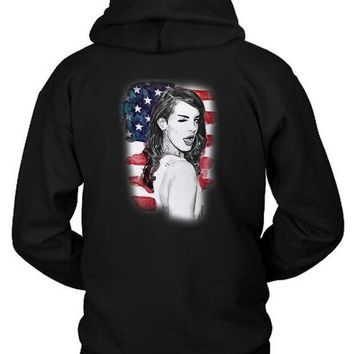 CREYH9S Lana Del Rey American Fan Art Illustrations Hoodie Two Sided