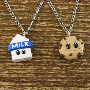 Tiny Milk & Cookies Best Friend Necklace Set by rapscalliondesign