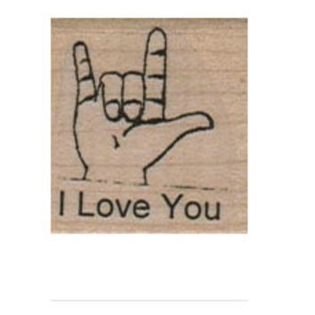 Hand Sign language I Love You wood mounted rubber stamp 8466