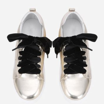 Metallic Gold Trainer Tennis Shoes- Black Laces
