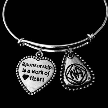 Sponsorship is a Work of Heart Narcotics Anonymous NA Jewelry Adjustable Charm Bracelet Silver Expandable Bangle One Size Fits All Sponsor Gift Recovery