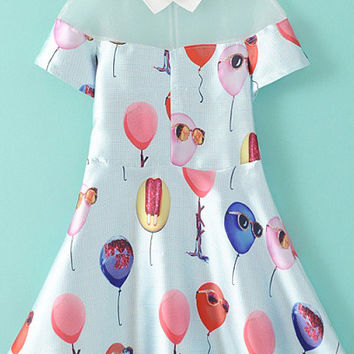 White Balloon Print Mesh Collar Short Sleeve Skater Dress
