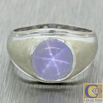 1930s Antique Art Deco Vintage Estate 14k White Gold Cabochon Star Sapphire Ring