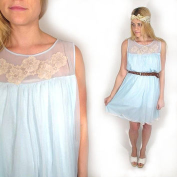 1960s Sheer Nylon Lace Applique Tent Dress Size SM by EMBERvintage