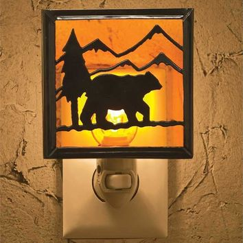 Cabin Lodge Night Light by Park Designs - Black Iron & Glass - Bear